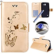 Etsue Huawei Ascend Y550 Cover,Huawei Ascend Y550 Custodia in Pelle,Elegante Bella Butterfly Oro Gold Artificiale Leather PU Puro Portafoglio Case Cover,Wallet/Libro/Flip Protettiva Case Cover Con Magnetica Chiusura/Card Slot/Supporto di Stand Per Huawei Ascend Y550+Blu Stylus Pen e scintillio di Bling Diamond Dust Plug colora casuale-&Gold&
