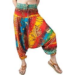 Lofbaz Femmes Smocked Taille Tie Dye 2 en 1 Harem Combinaison Pantalon Orange & Jaune L