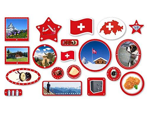 XXL-Großkonfetti * SCHWEIZ * mit 57 großen Konfetti-Teilen für eine Motto-Party oder Länder-Party // Swiss Switzerland Alpen Kinder Kindergeburtstag Deko Motto
