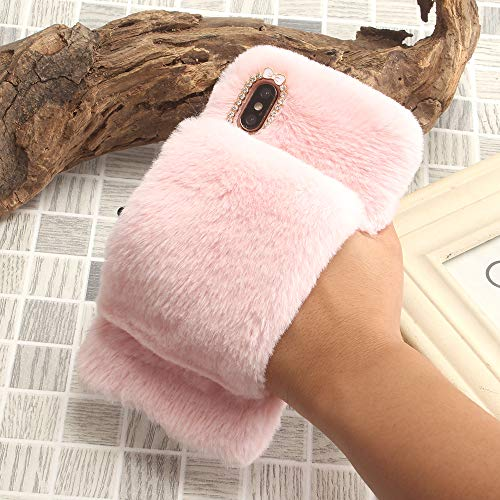 SevenPanda für iPhone 6S Girly Hülle, für iPhone 6 Plüsch Hülle, Kaninchen Case Handgefertigt Bogen Handyhülle Women Armband Griffhalter Handheld Cute Schale für iPhone 6 iPhone 6S 4.7