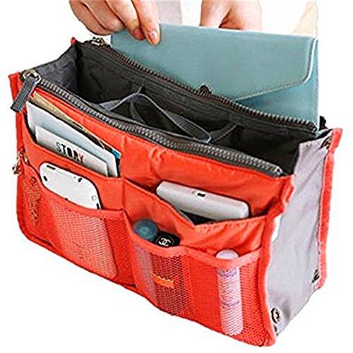 sungpunet bolso para mujer organizador maletero organizador viajes cosméticos bolsillo dípticas 12bolsillos Naranja