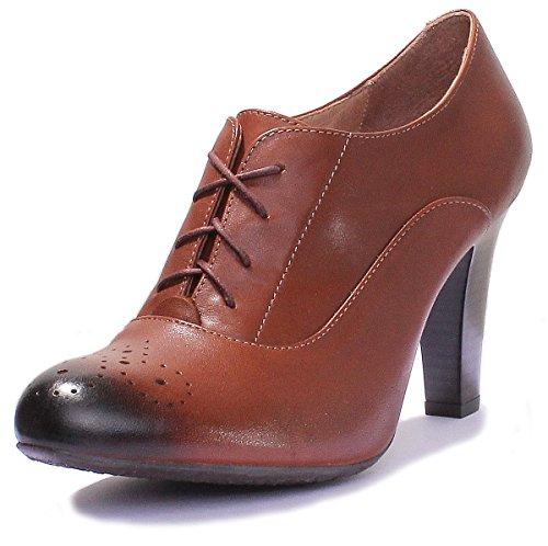 Justin Reece 1040, Zapatos Con Cordones De Mujer De Color Marrón
