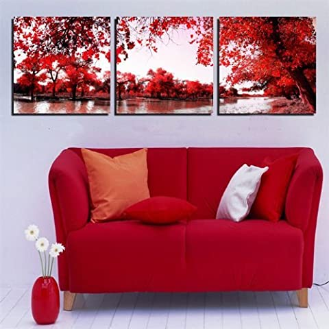 Mon Kunst Canvas Art Deco Modern Abstract Wall Art Painting on Canvas with Red Trees Flowers Painting Hot Sell Fashion Home Decoration (Stretched and Framed) Ready to Hang