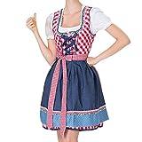 VEMOW Damen Kostüme Elegant Damen 3 Stück Dirndl Kleid Bluse Costumes rachtenkleid mit Stickerei Traditionelle Bayerische Oktoberfest Karneval(X2-Rot, EU-34/CN-S)