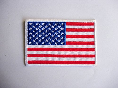 Patch - USA Flag - Flagge Amerika - weiss - Flaggen Patch - Länder Patch - Patches - Aufnäher Embleme Bügelbild Aufbügler