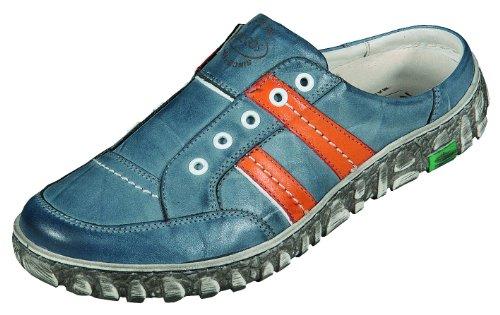 Miccos pantolette sandales pour femme en cuir nappa-doublure en cuir amovible, semelles de propreté en cuir. blau/komb.