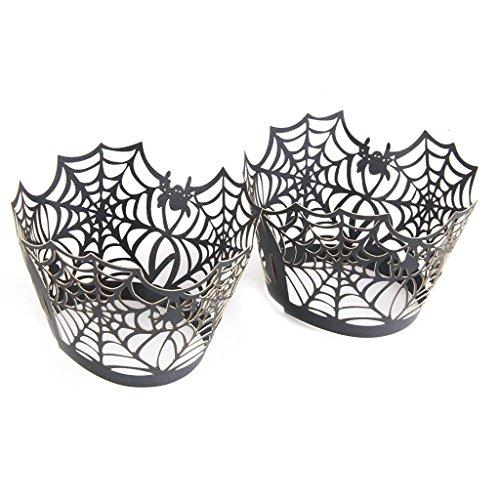 upcake Muffin Fällen Partyzubehör schwarz (Spider Web) ()