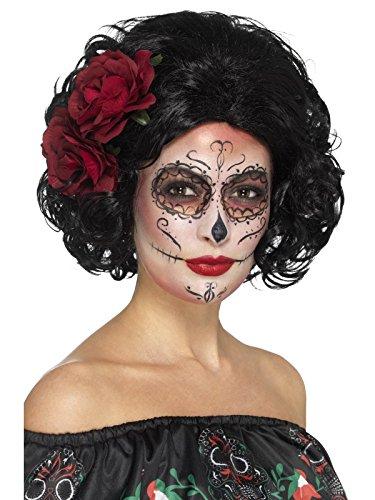 Smiffys, Damen Deluxe Tag der Toten Puppen Perücke mit Rosen, One Size, Schwarz, (Kostüm Up Make Tag Der Toten)