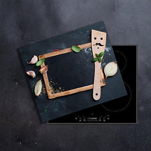 DAMU   Ceranfeldabdeckung 1 Teilig 60x52 cm Herdabdeckplatten Knoblauch Küche Elektroherd Induktion Herdschutz Spritzschutz Glasplatte Schneidebrett -