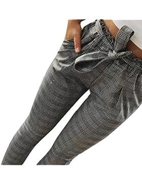 BaZhaHei de Pantalón, Pantalones Florales de Pierna Ancha con Estampado a Rayas de Cintura Alta Sexy para Mujer...