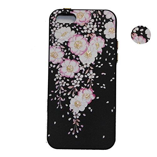 Hülle für iPhone SE 5 5S 5G, Schwarz Silikon Schutzhülle für iPhone SE 5 5S 5G Case TPU Bumper Handyhülle, Cozy Hut ® [Thin Fit] [Schock Absorption] Soft Flex Silikon Schlanke Hülle [Schwarz] Premium  Blütenregen