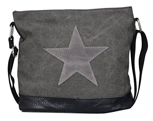 Damen Stern Handtasche Schultasche Clutch TOP TREND Tragetasche (Modell 3 Dunkelgrau)