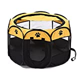 XianghuangTechnology Soft Fabric Portable Foldable Pet Dog Cat Puppy Playpen, Indoor/Outdoor use Pet Kennel Cage (Yellow)