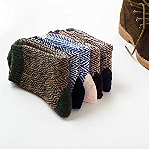 5 pairs mens vintage style fall winter soft warm thick knit wool crew socks