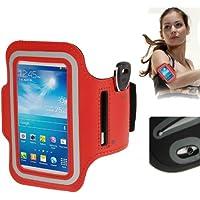 TechExpert Brassard sport tour de bras rouge pour Samsung Galaxy SIV mini S4 mini/i9190 idéal pour les sportifs, course à pied ou salle de sport avec pochette pour clés