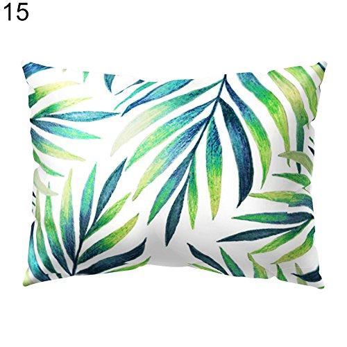 GREENLANS Tropical Feuilles Vertes Rectangle Taie d'oreiller Housse de Coussin Canapé Décoration de la Maison