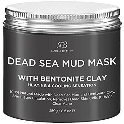 Radha Beauty Dead Sea Mud Mask with Bentonite Clay 8.8 oz - New Improved Formula for Face & Body by Radha Beauty Products EU LTD