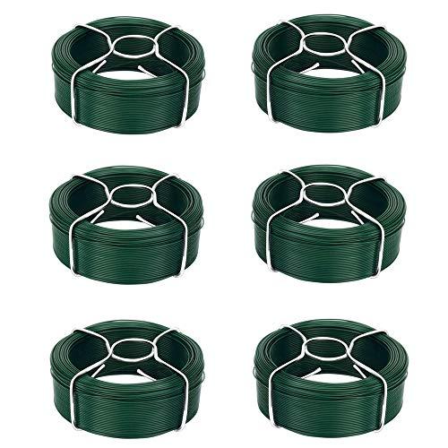 Amagabeli Garden Home 6 X 50M Cavo Metallico Rivestito di Plastica - 1.35mm - Filo Ferro Plastificato Verde