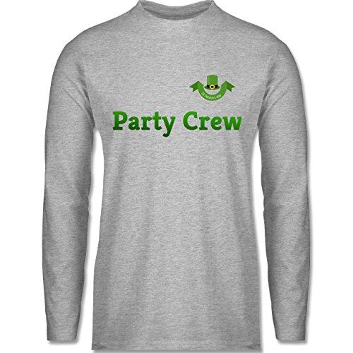 Shirtracer Festival - St. Patricks Day Party Crew - Herren Langarmshirt Grau Meliert