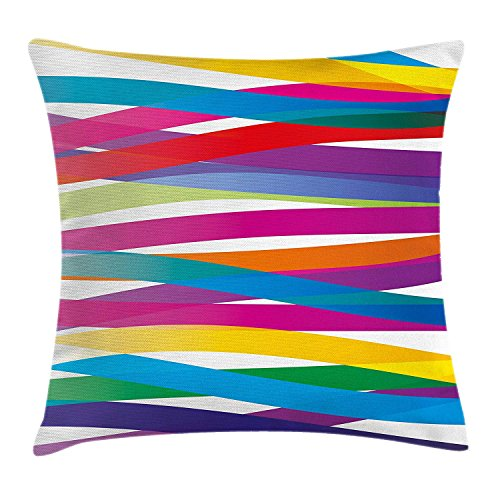 KAKICSA Colorful Throw Pillow Cushion Cover, Multicolor Ribbon Design Abstract Design Vivid Rainbow Pattern Artistic Expression, Decorative Square Accent Pillow Case, 18 X 18 inches, Multicolor