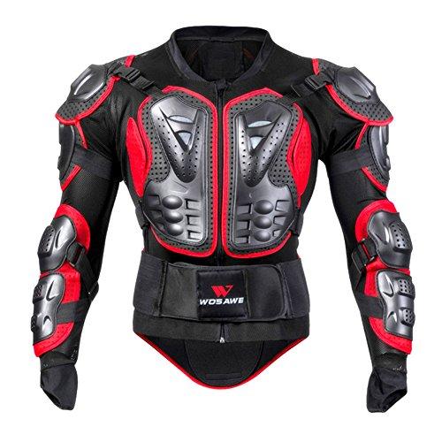 Oshide Motorradjacke hochwertig Motorrad Schutz Protektoren Schutzjacke Hemd Brustschutz Fallschutz(Rot)