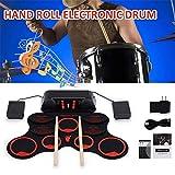 E-Drum - Kit batteria elettronica con 9 pad Roll Up – tamburo a mano in silicone per bambini, principianti, batteria
