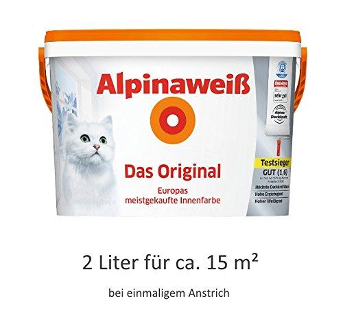 Alpinaweiß - Das Original, 2 Liter, weiße Wandfarbe, höchste Deckkraft, deckt beim ersten Anstrich