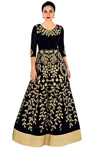 Shree Impex Women's Taffeta Silk Embroidered Semi Stitched Gown(gohar_gown_black01_Free Size)
