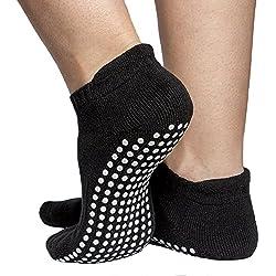 Skyba Calcetines Antideslizantes Para Mujeres - Barre, Yoga, Pilates, Rehabilitación En Hospital (Pequeña (EU 36-38), Negro)