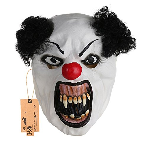 hyalinität & Dora Halloween Latex Clown Maske mit Haar für Erwachsene, Halloween-Kostüm Party Requisiten Masken