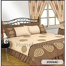 """Zodiac impreso de polialgodón Chocolate, Bumper doble funda de edredón/juego de funda de edredón + hoja de cama + 2fundas de almohada + par de cortinas 66""""x 72"""""""