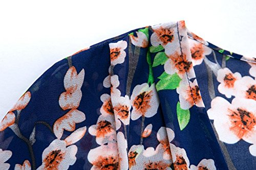 Tribear Damen Floral Bedruckt lose Kimono Cardigan Cover up Tops Chiffon Bluse Blau