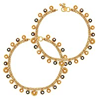 Bollywood Designer Pair of Anklet in Goldplated Brass Metal Ethnic Indian Touch for Women
