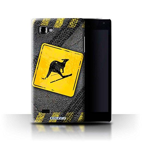 Stuff4 Custodia/Cover Rigide/Prottetiva Stampata con Il Disegno Cartelli Stradali Divertenti per LG Optimus 4X HD P880 - Sci Canguro