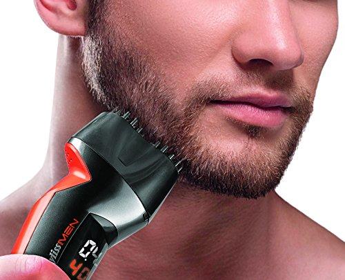 BaByliss Le Beard Designer SH510E - Barbero, cuchillas con recubrimiento de titanio, doble corte multidireccional, color negro y naranja
