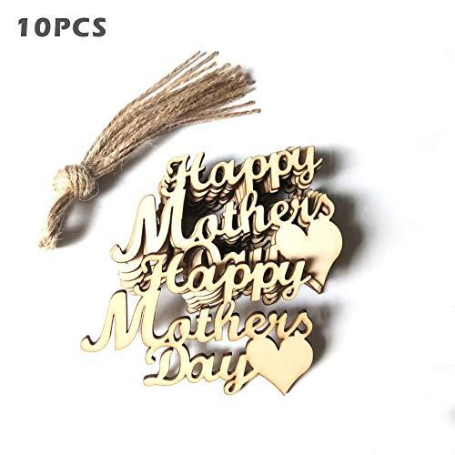 Ruby 10 Pack Holz Buchstabe Anhänger Halskette Muttertag DIY Anhänger Muttertag Brief Hängen Geschenk mit 10 Hanfseil