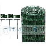 ROTOLO 25mt RECINZIONE RETE METALLICA ZINCATA PLASTIFICATA - MAGLIA:mm100X50 -DIAMETRO FILO:mm2,2 - ALTEZZA RETE: 100 cm