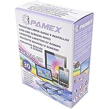 PAMEX Toallitas Húmedas 60 Sobres Unidades Individuales Limpia Pantallas Cristales Tablets Moviles Gafas Lentes