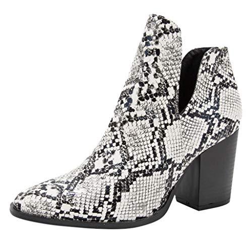 Stivali con Tacco a Punta da Donna Scarpe con Motivo a Serpente Stivali Stivali di Grandi Dimensioni Slip-On Scarpe per Donna/Ragazza di Kinlene