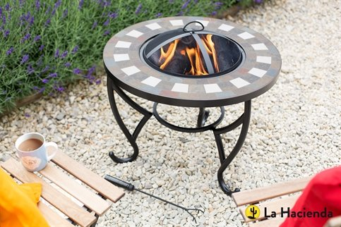 La Hacienda Naxos Brown & Cream Tiled Firepit with Grill
