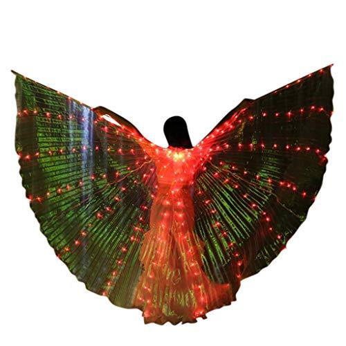 Damen LED Bauchtanzflügel - Bunte Schmetterlingsflügel mit Teleskopstiel - Halloween Weihnachten Cosplay Tools ()