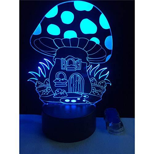 Champignons magiques Pokemon 3D Veilleuse stéréo LED Chambre à coucher créative Petite lampe de bureau 7 Lampe de chevet à changement de couleur