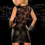 Sexy Dessous, Fortan Damen mit V-Ausschnitt Transparent Häkelspitze-Leder-Wäsche (EU=36, Schwarz)