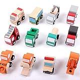 Nettes pädagogisches Spielzeug 12 Stücke Holz Auto 1 Spielzeug Mini Auto Modell Fahrzeug Set Klassische BAU Team Lernspielzeug für Kinder Für Jungen und Mädchen (Size : 1)