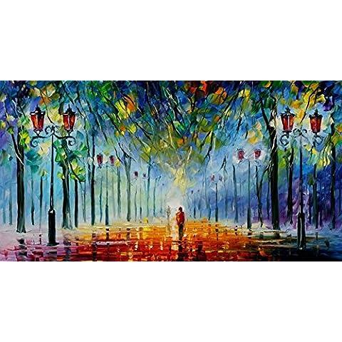 Van Eyck Walk in the night Colorful Paesaggio Coltello pittura
