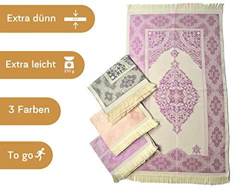 Imanpaper Muslimische Gebetsteppich Extra dünn in lila violett beige | Namaz-LIK Seccade, Gebets Matte | Salah Sejadah, Islamic Prayer mat Rug, für das Gebet im Islam Idee 1,20x0,68m