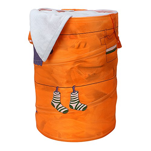 Ao Jie Ya Multipurpose Polyester & Polyester Blend Foldable & Collapsible 50-Litre Pop-Up Laundry Bag Basket – Orange