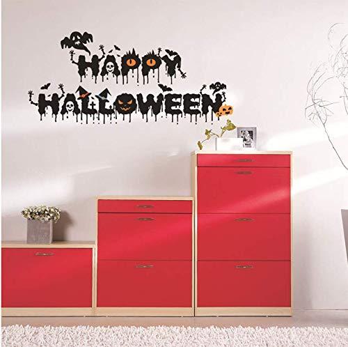 LONGTENGHEIHA Happy Halloween Home Haushalt Zimmer Wandaufkleber Dekor Aufkleber Abnehmbare Neue Halloween Fensterglas Wandaufkleber ()