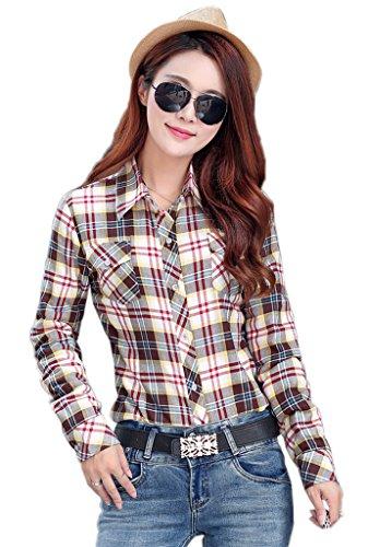 Smile YKK Chemisier Automne Femme Blouse Coton Velours Motif Carreaux Veste Hiver Chaud Café