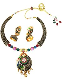Traditional Ethnic Black Oxidized Multicolor Designer Necklace Set With Jhumka Earrings For Women By JewelQueen